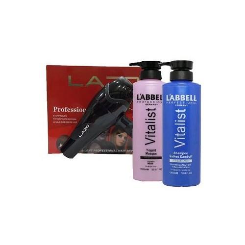 Labbell Anti Dandruff Hair Shampoo Yogurt Mask Professional Hair Dryer SET